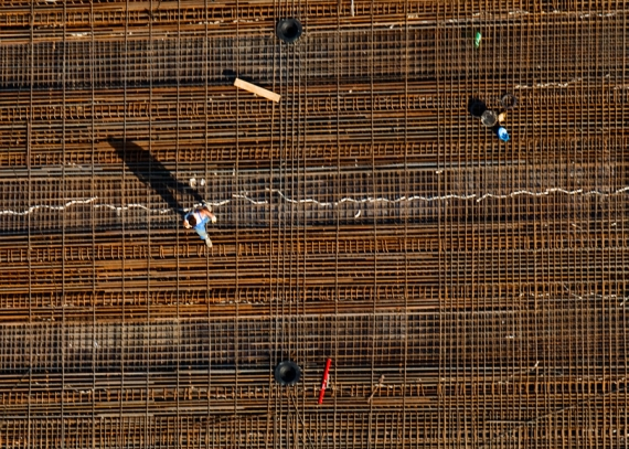 Budowa mostu na Sanie (Nisko-Zarzecze) ... ujęcie prawie orto
