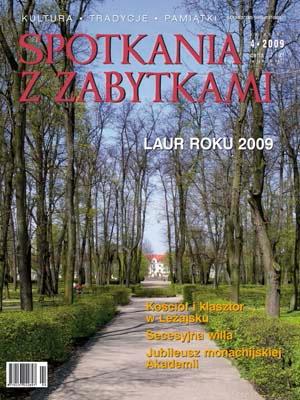 Miesięcznik 'Spotkania z zabytkami' nr 4/2009. Zdjęcie lotnicze klasztoru w Leżajsku.
