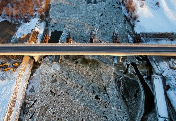 Most na Sanie Nisko-Zarzecze, zima 2012 (29 stycznia)
